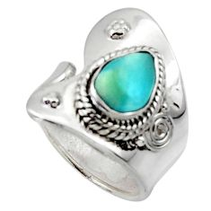 925 sterling silver 2.56cts solitaire natural blue larimar ring size 6.5 r50138