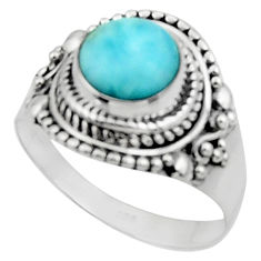 925 sterling silver 3.19cts solitaire natural blue larimar ring size 8.5 r50157