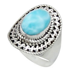925 sterling silver 4.53cts solitaire natural blue larimar ring size 7.5 r50160