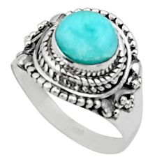925 sterling silver 3.01cts solitaire natural blue larimar ring size 6.5 r50167