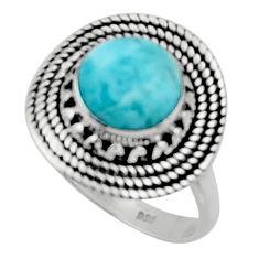 925 sterling silver 3.50cts solitaire natural blue larimar ring size 6.5 r50173