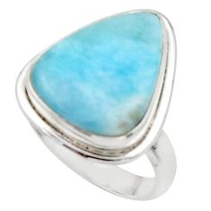 925 sterling silver 12.99cts solitaire natural blue larimar ring size 8.5 r50235