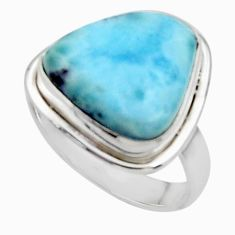 925 sterling silver 10.81cts solitaire natural blue larimar ring size 7.5 r50299