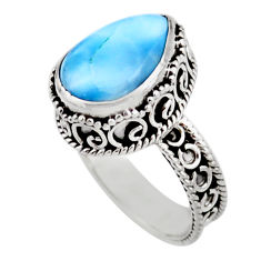925 sterling silver 5.95cts solitaire natural blue larimar ring size 7.5 r51883