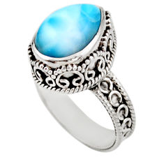 925 sterling silver 6.76cts solitaire natural blue larimar ring size 7.5 r51895