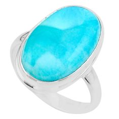 925 sterling silver 15.47cts solitaire natural blue larimar ring size 10 t24565