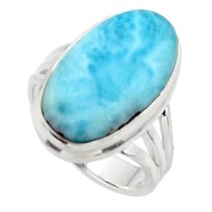 925 sterling silver 9.10cts solitaire natural blue larimar ring size 6 r50227
