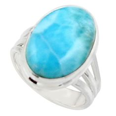 925 sterling silver 12.07cts solitaire natural blue larimar ring size 6 r50292