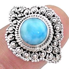 925 sterling silver 3.21cts solitaire natural blue larimar ring size 6 t46130