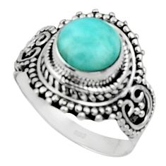 925 sterling silver 3.18cts solitaire natural blue larimar ring size 7 r50154