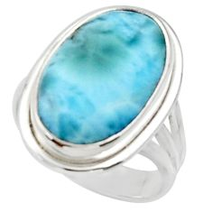 925 sterling silver 12.36cts solitaire natural blue larimar ring size 7 r50289