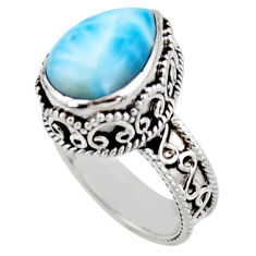 925 sterling silver 6.33cts solitaire natural blue larimar ring size 7 r51891