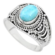 925 sterling silver 2.19cts solitaire natural blue larimar ring size 7 t10218
