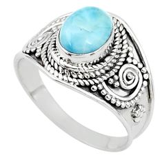 925 sterling silver 2.20cts solitaire natural blue larimar ring size 7 t10235