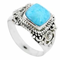 925 sterling silver 3.19cts solitaire natural blue larimar ring size 7 t10524