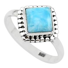 925 sterling silver 2.71cts solitaire natural blue larimar ring size 7 t11212