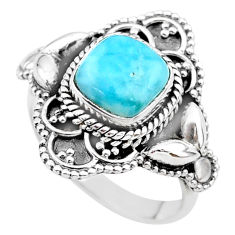 925 sterling silver 3.28cts solitaire natural blue larimar ring size 7 t20031