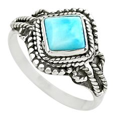 925 sterling silver 1.15cts solitaire natural blue larimar ring size 7 t26165