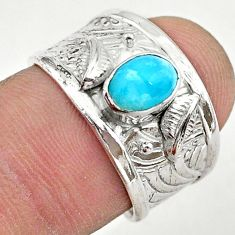 925 sterling silver 1.63cts solitaire natural blue larimar ring size 7 t42268