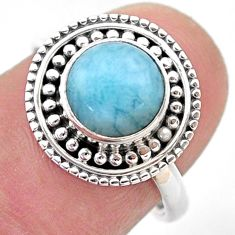 925 sterling silver 3.42cts solitaire natural blue larimar ring size 7 t46117
