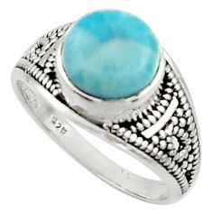 925 sterling silver 4.69cts solitaire natural blue larimar ring size 8 r40704
