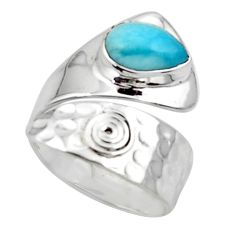 925 sterling silver 2.63cts solitaire natural blue larimar ring size 8 r50124