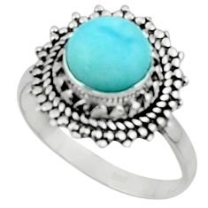 925 sterling silver 3.32cts solitaire natural blue larimar ring size 8 r50179