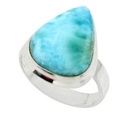 925 sterling silver 13.67cts solitaire natural blue larimar ring size 8 r50280