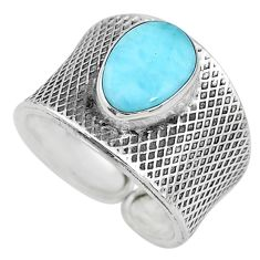 925 sterling silver 2.63cts solitaire natural blue larimar ring size 8 t10496