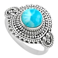 925 sterling silver 3.13cts solitaire natural blue larimar ring size 8 t20189