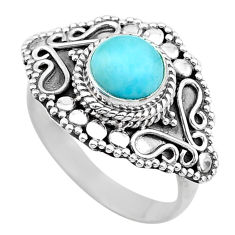 925 sterling silver 3.29cts solitaire natural blue larimar ring size 8 t20225