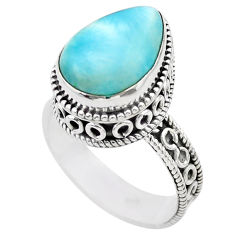 925 sterling silver 6.80cts solitaire natural blue larimar ring size 8 t29485