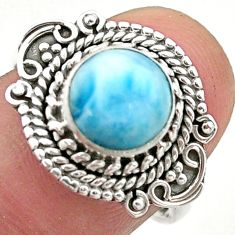 925 sterling silver 3.22cts solitaire natural blue larimar ring size 8 t46173