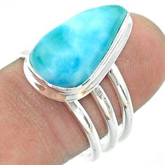 925 sterling silver 6.89cts solitaire natural blue larimar ring size 8 t56369