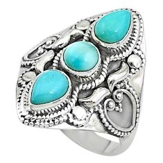 925 sterling silver 4.50cts solitaire natural blue larimar ring size 9 t10436