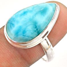 925 sterling silver 13.82cts solitaire natural blue larimar ring size 9 t54558