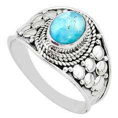 925 sterling silver 2.11cts solitaire natural blue larimar ring size 8.5 t10207
