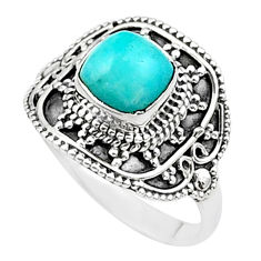 925 sterling silver 1.30cts solitaire natural blue larimar ring size 7.5 t27204