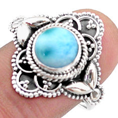 925 sterling silver 3.38cts solitaire natural blue larimar ring size 8.5 t46124