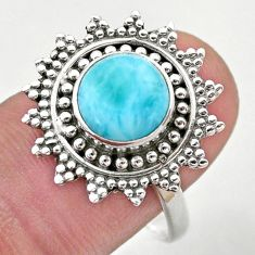 925 sterling silver 3.58cts solitaire natural blue larimar ring size 8.5 t46152