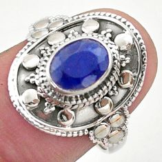 925 sterling silver 1.92cts solitaire natural blue sapphire ring size 10 t46683