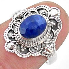 925 sterling silver 2.03cts solitaire natural blue sapphire ring size 6 t46666