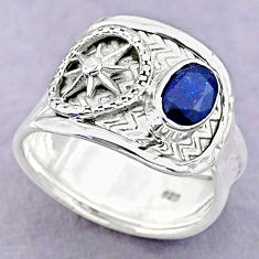 925 sterling silver 1.50cts solitaire natural blue sapphire ring size 7 t32411