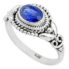 925 sterling silver 1.46cts solitaire natural blue sapphire ring size 7 t5494