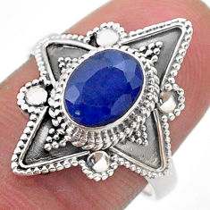 925 sterling silver 1.99cts solitaire natural blue sapphire ring size 8 t46626