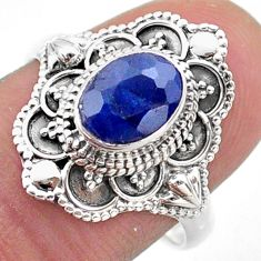 925 sterling silver 1.91cts solitaire natural blue sapphire ring size 8 t46644