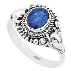 925 sterling silver 2.21cts solitaire natural blue sapphire ring size 8 t5338