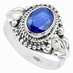 925 sterling silver 2.00cts solitaire natural blue sapphire ring size 8 t5355
