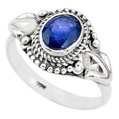 925 sterling silver 2.02cts solitaire natural blue sapphire ring size 8 t5358