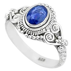 925 sterling silver 1.40cts solitaire natural blue sapphire ring size 8 t5487